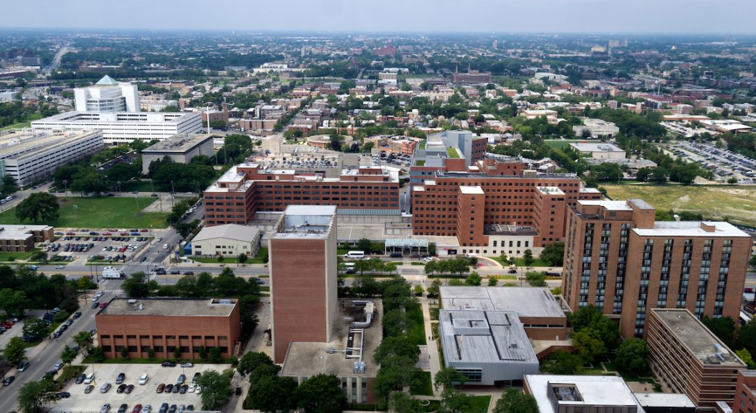 Aerial view of UIC's West Campus